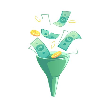 Flat sales funnel for financial design. Green money into cone funnel banner. Online business vector illustration. Technology, Internet marketing conversion concept. Profit, income isolated template.
