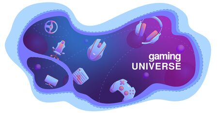 Wavy template with flat Gaming gadgets on modern blue and violet background like gaming universe, on isolated background, for web, market and cards. gamepad, headphones, vr, mouse, cup, keyboard elements. for electronics technology banner, poster, cover.