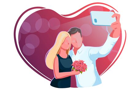 Beautiful young couple taking selfie on date. Valentine day, guy and girl with roses make relfie on a red background. Love, engagement, wedding concept. Love heart frame. Romantic celebration design.