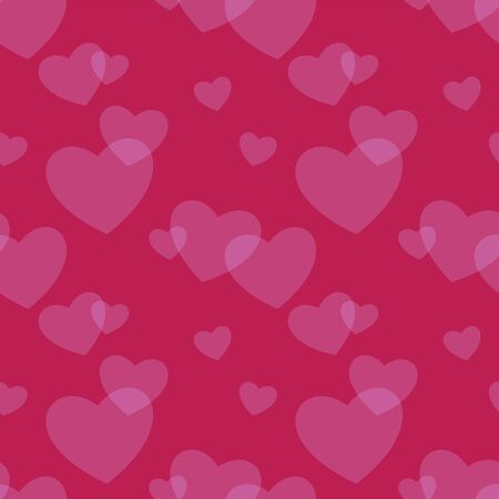 Hearts seamless background. Love textile pattern. Heart shapes blur on crimson backdrop. Light romantic symbol decoration for valentines day. Flat vector package template. Love, wedding concept. 向量圖像