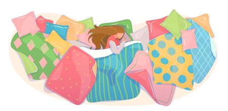 Pillows and blankets cover design, textile shop banner. Girl sleeping in cozy bed linen concept. Bedding set template. Web background of fabric pattern. Dream card, top view. Flat vector illustration.