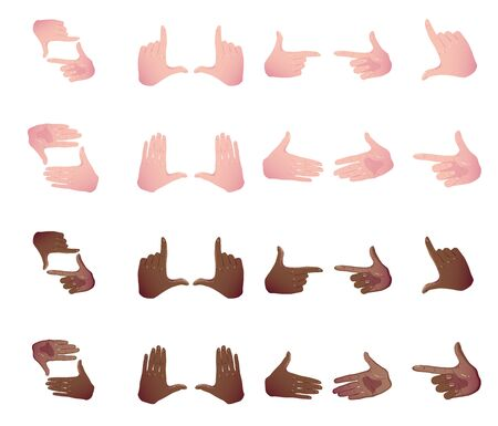 Big set black and white Hands making frame for video or photo. Various combinations of frames made from fingers. Cropping Gesture. Flat Framing horizontal, taking focus shooting like mobile camera.