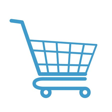 Empty color shopping cart flat modern design. Colored vector icon isolated on white background. Web store object design. Simple shop cart symbol. purchases colorful market element Ilustración de vector