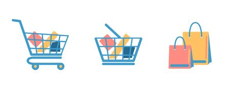 Set of shopping basket, cart, bags with goods flat icons isolated on white background. Blue full shop box for website design development. Single simple market object. vector supermarket store elements