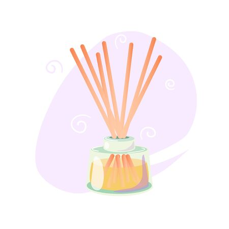 Palitos de aroma de madera en frasco de vidrio. Aceite de perfume líquido. La fragancia de aire esencial se adhiere a la aromaterapia. Medicina alternativa. Spa y belleza Ilustración de vector plano de dibujos animados aislado sobre fondo blanco.