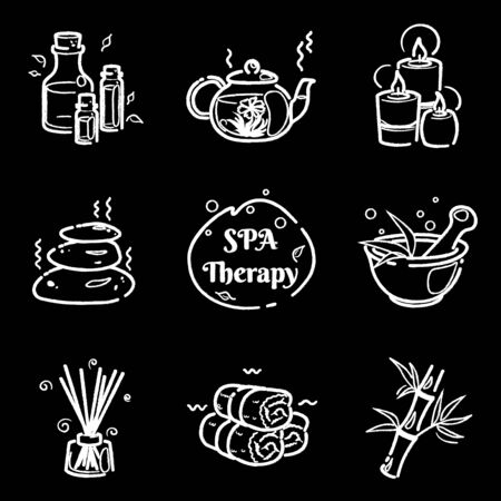 Spa therapy chalk line icons set on chalkboard for wellness salon. Relax massage vector drawing. Body health nature concept. Beauty skincare design elements. Isolated Herbal organic collection.