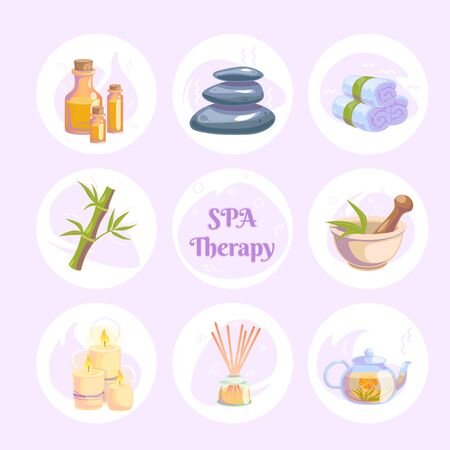 Spa therapy icons round stickers for wellness salon. Relax massage vector illustration. Body health nature concept. Beauty skincare design elements. Herbal organic collection.
