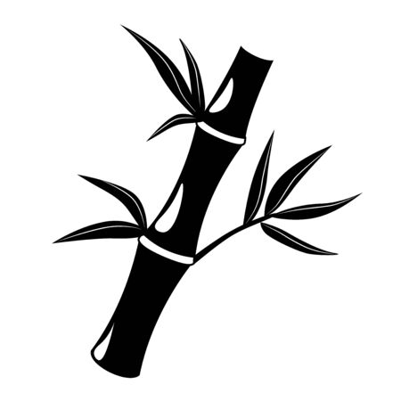 Chinese glyph icon bamboo on white background. Black business Wellness spa design. Tropical Asian plant template. Massage treatment vector Cosmetic symbol. Relaxation natural concept pictogram. Ilustrace