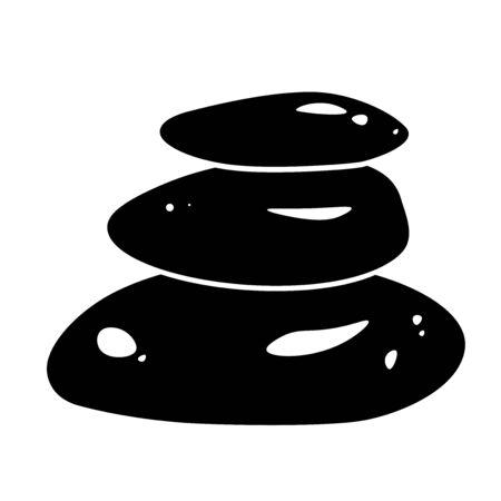 Spa stones glyph icon design. Massage treatment, Wellness vector black silhouette . Relax, meditation concept. Natural care pictogram for beauty salon. Zen balance symbol. Stack of three rocks. Illustration
