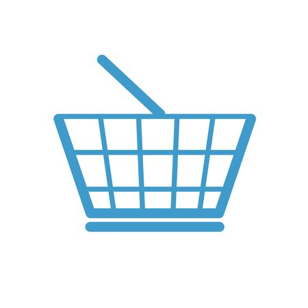 empty shopping basket in flat modern design. Colored vector icon isolated white background. Blue shop box for website design development. Single simple market object. supermarket store element vector Vektorové ilustrace