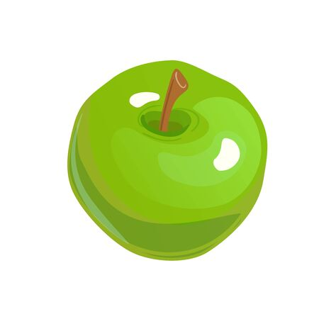 Big whole fresh apple green flat isolated on white background. Color vector icon for design element. Fruit simple simbol.