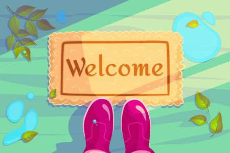 Welcome doormat with green leaves and rubber boots. Hello Spring season background. Horizontal concept of Greeting card and invitation banner. Color flat visit illustration. Guest design vector poster.