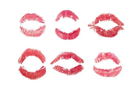 Lipstick kisses set, Red love kiss icons. Woman mouth isolated on white paper. Pink Signet mark. Sexy glossy lip makeup for print. Female symbol collection. Romantic sign for letter background. Foto de archivo