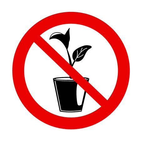 No houseplants prohibition sign. Forbidden icon with flower pot on white background. Seedling gardening plant in red crossed out circle. Do not grow concept. Isolated Natural Vector warning symbol. Ilustração