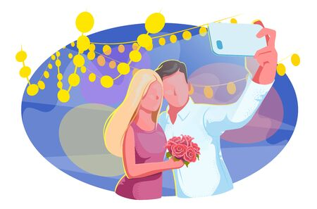 Couple at prom take selfie on dance floor. Graduation celebration at night party. Young students in evening promenade school concept. Romantic holiday, vacation event. Relationship Isolated vector.