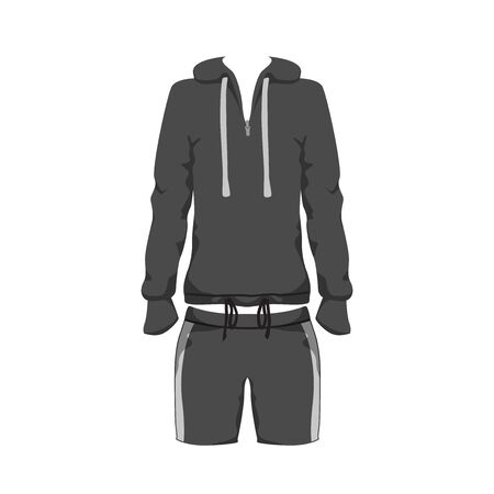 Sport Outfit Suit Template, Running Gym Sportwear, Tracksuit Fitness hoody and shorts. Short Unisex sport Clothing Set for training, run. Vector isolated design on white background.