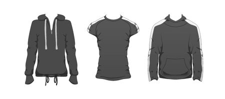 Fitness outfit clothes set. Gray Top sport wear design. Black Casual collection. Man and unisex sportswear clothe vector. Fashion style concept. Stock modern flat mockup illustration isolated on white