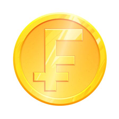 Golden frank coin CHF symbol on white background. French Finance investment concept. Exchange France currency Money banking illustration. Business income earnings. Financial sign stock vector.