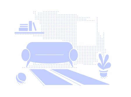 Blue interior textured background with empty space. Living room in Flat style vector illustration. Simple Sofa, window, book shelf, plant, carpet in monochrome color. Minimalistic cozy apartment decor