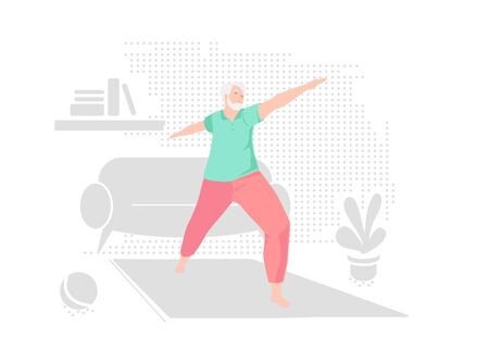 Elderly man alone does yoga at home. Indoor retired leisure. Active healthy lifestyle quarantined. Sport, fitness for senior person. Balance training. Old character doing exercises vector illustration Vector Illustration