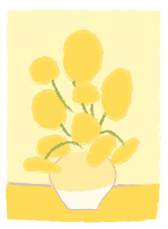 Sunflowers Van Gogh imitation like child s drawing in cartoon style. Impressionism painting art. Yellow flowers in vase. Bouquet Greeting card decoration. Simple vector stylized design isolated.