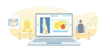 Bannière de galerie d'art en ligne. Musée virtuel dans un ordinateur portable moderne isolé sur fond blanc. Visites d'exposition en ligne, technologie Internet. Loisirs à domicile sur les appareils mobiles. Concept de vecteur de tourisme Web. Vecteurs