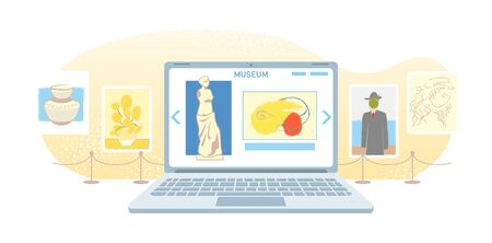 Online art gallery banner. Virtual museum in modern laptop isolated on white background. Online exhibition Tours, Internet technology. Home leisure on mobile devices. Web tourism Vector concept. Vector Illustration
