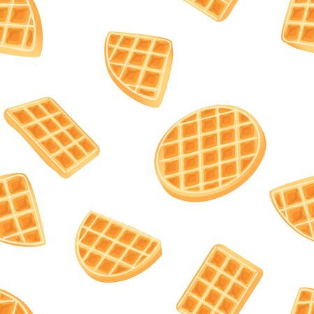 Belgian Waffle Seamless Pattern Drawing. Gold belgian dessert background. breakfast sweet cooky vector drawing tile isolated on white background. Tasty colored texture.