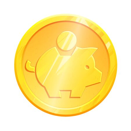Gold coin piggy bank savings symbol. Banking concept. Money save icon. Economic growth sign. Cash income, investment. Home budget. Earnings money. Metal moneybox vector, isolated on white background.