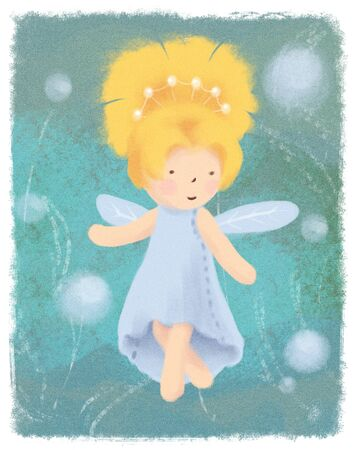 Forest fairy greeting card on green backdrop. Archivio Fotografico