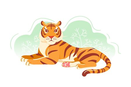 Modern tiger Flat postcard. Cartoon Animal colorful trendy illustration. Greeting card, banner, poster. Jungle orange big cat laying in grass vector art isolated on white background. Asian wildlife.