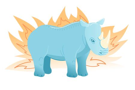 Rhinoceros postcard in flat style on white background. Cartoon blue animal character. African mammal Cute design. Rhino in yellow bush vector illustration. Kids zoo greeting card isolated clipart.