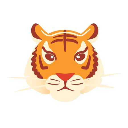 Tiger flat head on white background. Orange big cat mask Isolated vector icon. Halloween carnival paper face. Animals character Jungle print. Bengal zoo clip art for masque. Simple style illusttation.