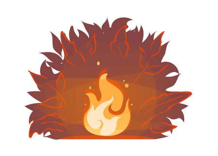 Red forest fire on night bush silhouette backdrop. Illustration of summer wildfire. Campfire icon. Burning bonfire vector. Firewood flames, burn fireplace cartoon sticker. Bright flame with sparks.