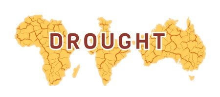 Drought in the world for concept print design. Yellow cracked vector background with text. Desert in Australia, India, Africa. Global earth climate problem. Warning Poster isolated on white backdrop.