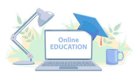 Distance education concept. E-learning banner with copy space. Online study flat vector illustration. Home school. Modern communication technology. University class Learning on white background. Ilustrace