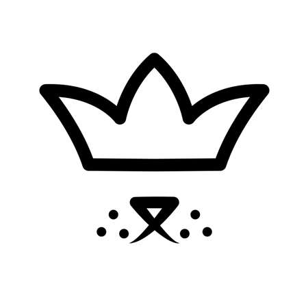 Pet in crown . Royal dog black sign on white background. Cute puppy happy in luxury style. Line drawing animal head king. Kingdom doggy icon element vector.