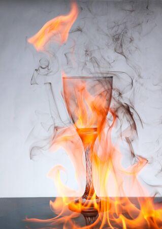 wine Glass on fire wallpaper