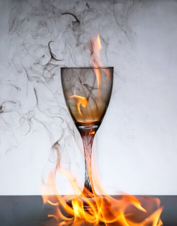 wine Glass on fire and ashes stock photo 스톡 콘텐츠 - 149023887
