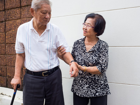 Happy romantic senior asian couple take care of each other. How long has it been.The Love has never been changed. Concept of senior couple and take care of each other