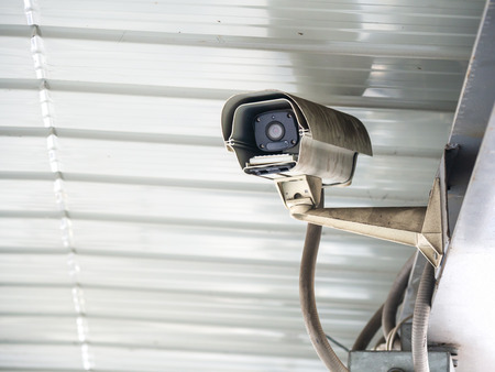 CCTV security camera installed in airport and subway for security guard monitoring and surveillance for not let bad things happen. Standard-Bild - 110368137