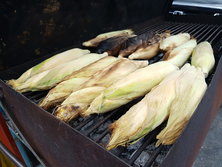 Sweet and delicious corn on the Cob grilling on a Grill Standard-Bild - 110368143
