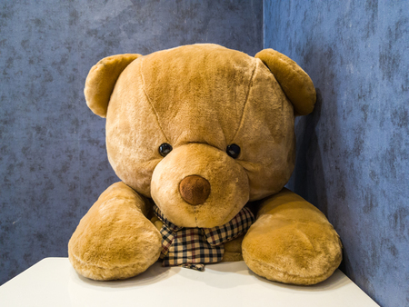 Cute teddy bear sit on the chair in front of dining table. Make it seem like waiting for favorite dish. Standard-Bild - 110368194