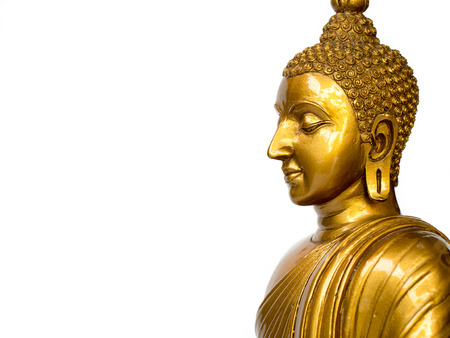 Golden antique buddha statue on the white background (isolated background). The face of the Buddha turned to the left Standard-Bild - 110368276