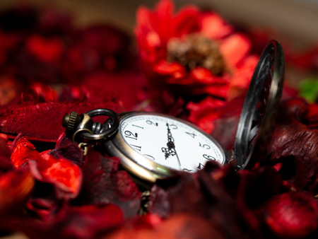 Golden vintage pocket watch put on a wooden table with red dried flowers with aroma Standard-Bild - 110368278