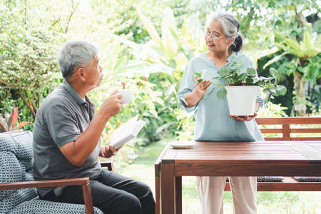 A happy and smiling Asian old elderly woman is planting for a hobby after retirement and her husband is reading a book. Concept of a happy lifestyle and good health for seniors. Stockfoto