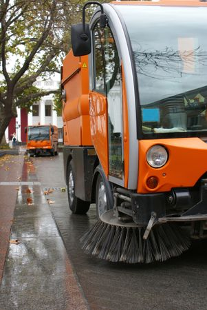 pressurized: Street cleaning mashines on cobbled roadways in Europe