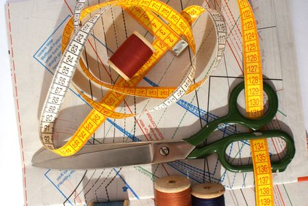 Scissors and a measuring tape photo