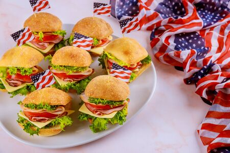Appetizer for american holiday party with american flag. Foto de archivo - 137865817