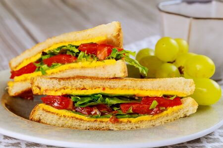 Healty grilled cheese sandwich with vegetable and golden grape. Close up.